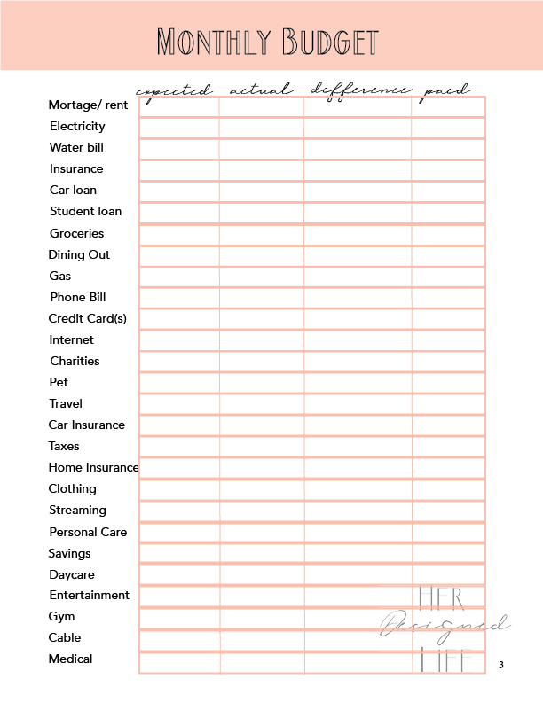12 month budget saving planner her designed life